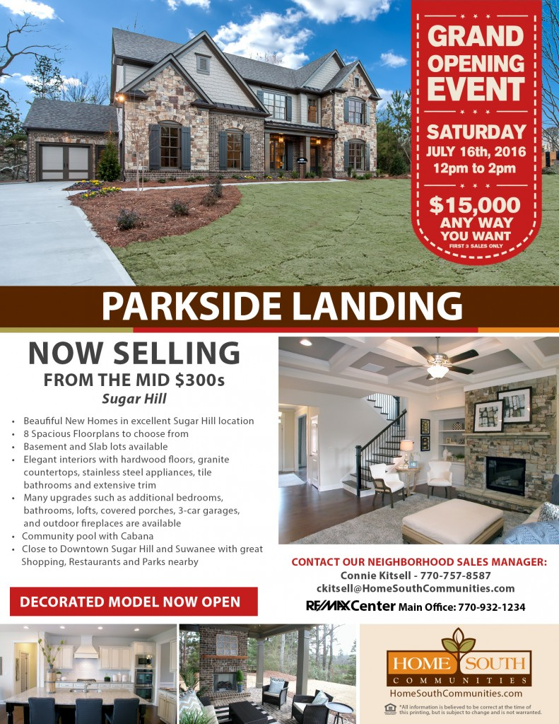 Parkside Landing Community Flyer with Grand Opening Info 160630