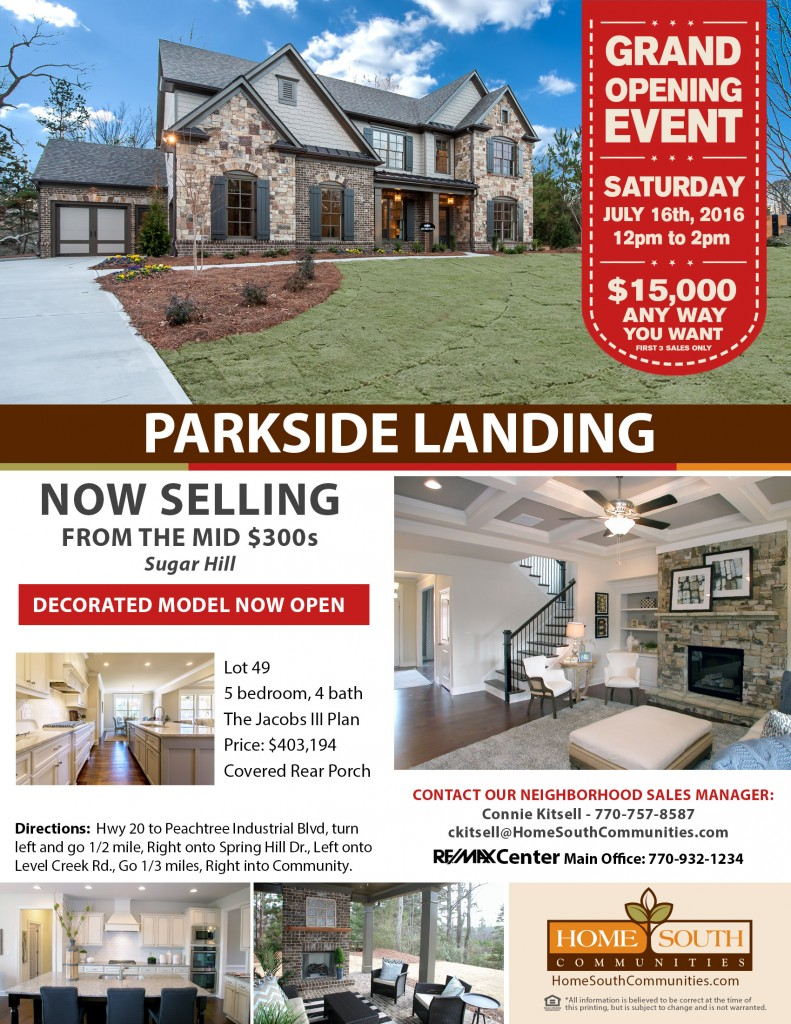 Parkside Landing Community Flyer with Inventory & Grand Opening Info 160630