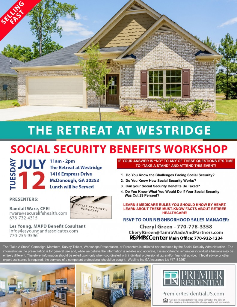 Retreat at Wetsridge Social Security Event Flyer 160705